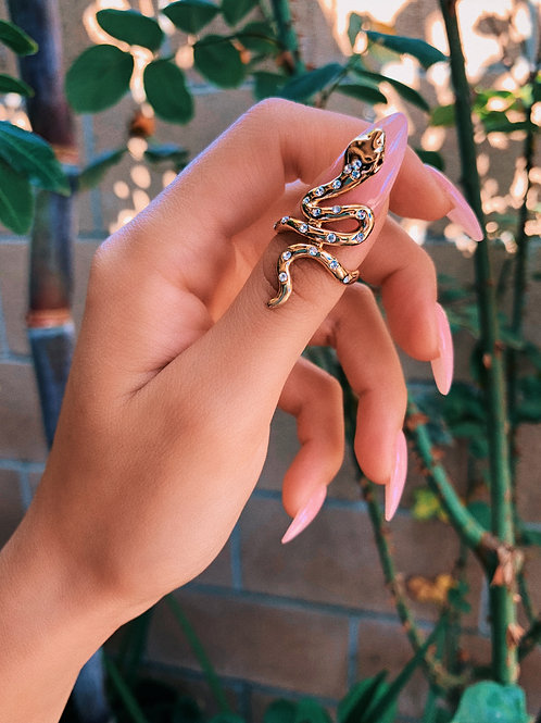 Slithering Crystal Spotted Snake Ring