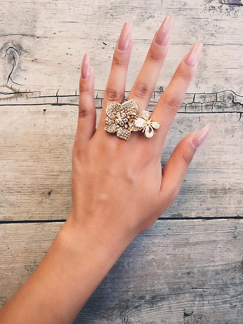 Golden Flower Pair Crystal Ring