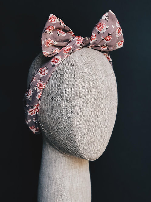 Pink Floral Bow Head Wrap