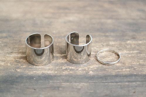 Silver Bond Rings Set