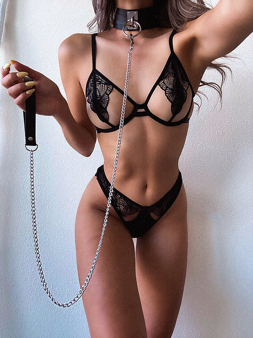 Pleather Choker and Leash Harness