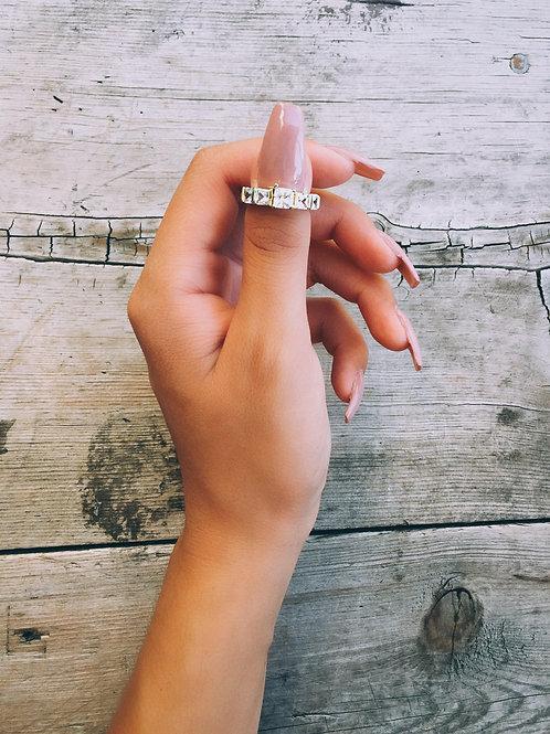 Crystal Bold Lining Thumb Ring