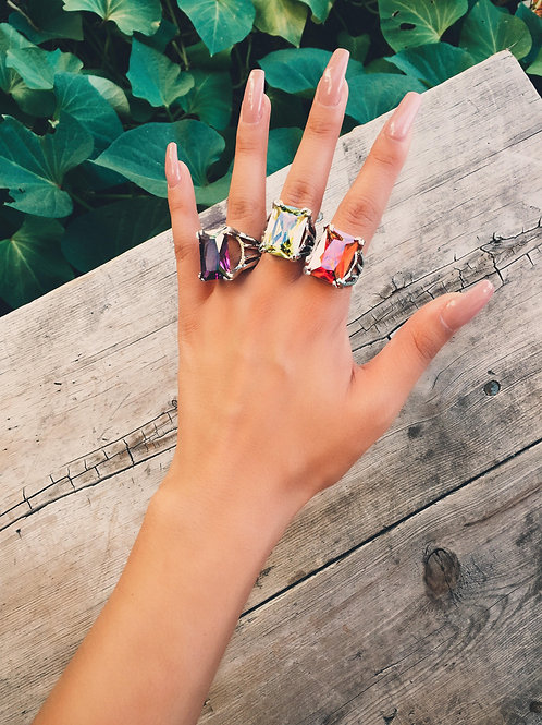Colored Crystal Square Rock Ring