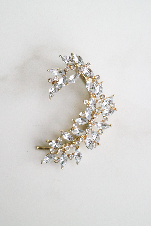 Crystal Floral Butterfly Ear Cuff