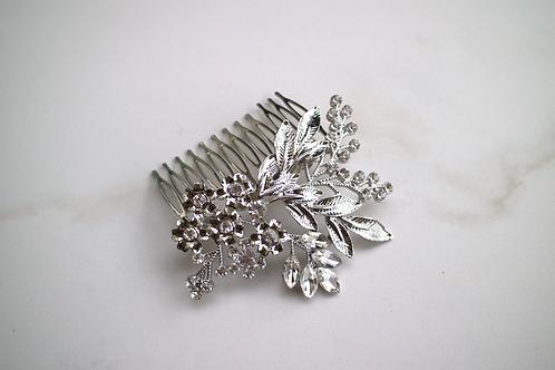 Silver Flower Bouquet Hair Comb