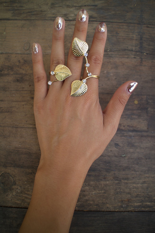 Branched Feather Double Finger Ring