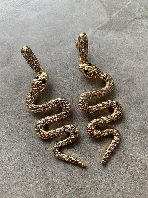 Crystal Slithering Snake Earrings