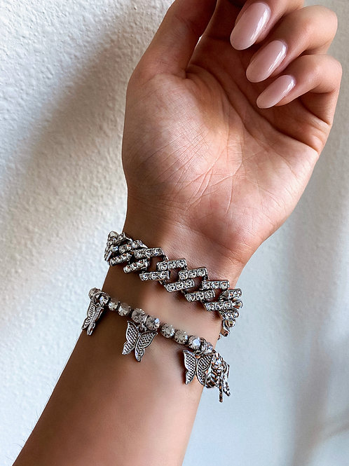 Crystal Thunder Butterfly Bracelet Set