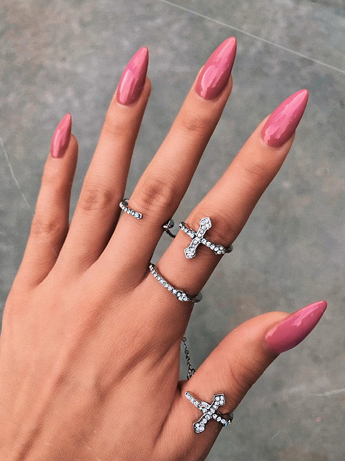 Crystal Cross Connect Chain Ring