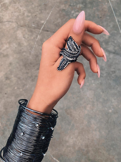 Crystal Metallic Sharp Leaf Ring
