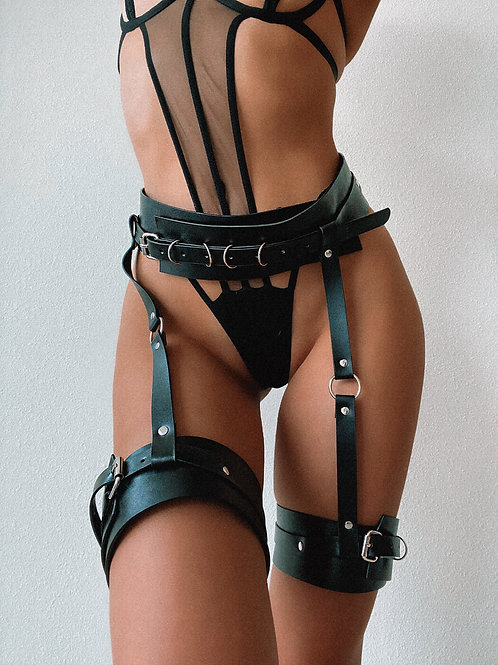 Bulk Links Flap Pleather Waist/Thighs Harness