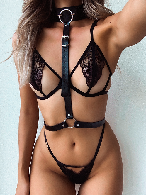 Black Pleather Bulk O Link Ring Body Harness