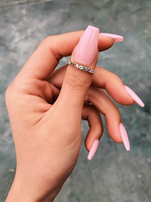 Rainbow Crystal Lining Ring
