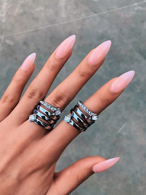 Crystal Metal Arrow Wrap Ring