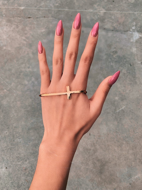 Gold Cross Hand Ring