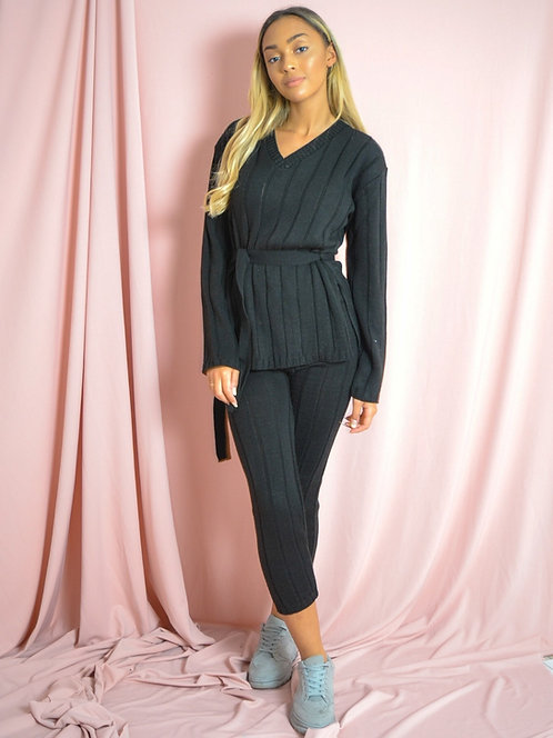 Black ribbed knitted belted top & bottom loungewear set