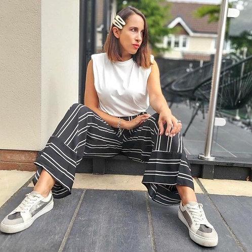 Influence black stripe wide leg culotte trousers