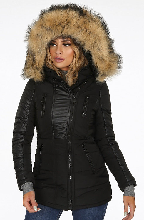 Faux fur hooded coat with leather look panels