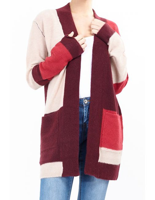Open front block colour cardigan in wine
