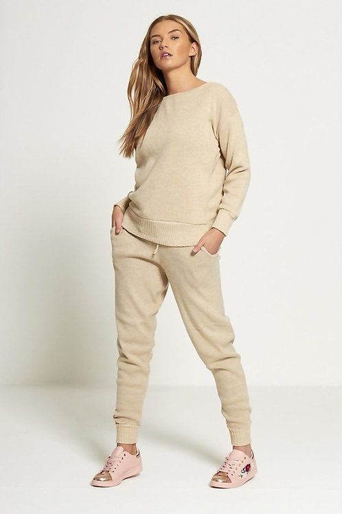 Beige soft knitted lounge wear set - sizes 6-22