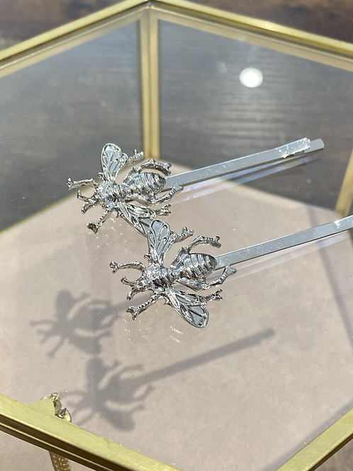 Silver bee hair slides (pair)