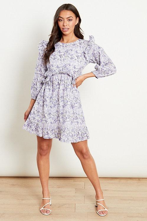 Side cut out lilac floral dress