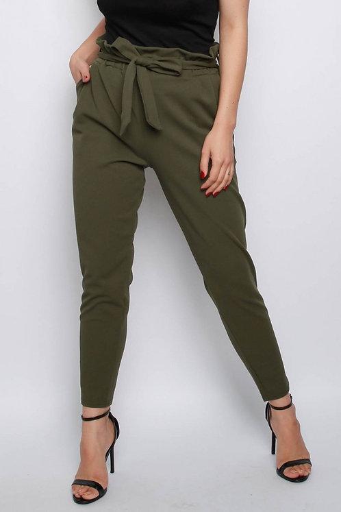 Khaki cigarette style paperbag waist trousers