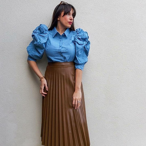 Taupe Leather Look Pleated Skirt