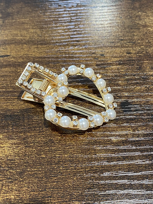 Gold, Pearl and diamonte hair clip