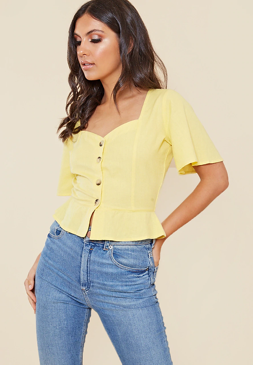 Yellow cotton sweetheart button down top