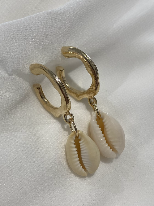 Gold hoop with drop shell earrings