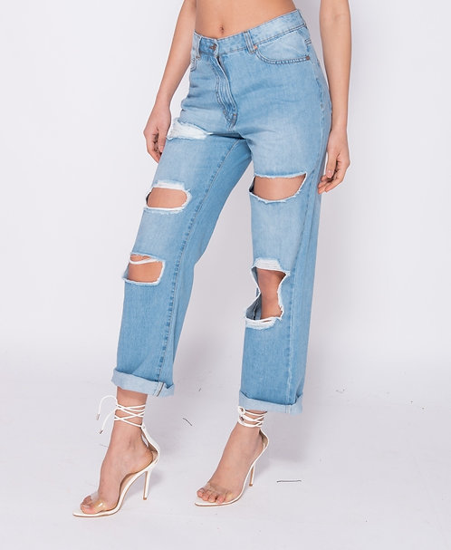 Distressed mom style ripped jeans