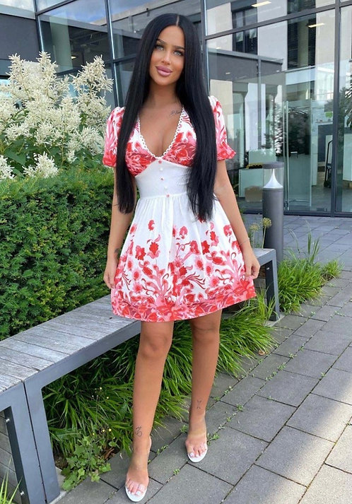 White and red floral boarder dress