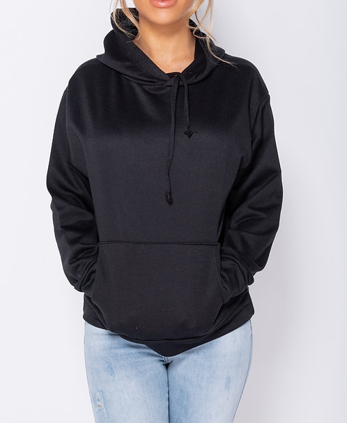 Supersoft and lightweight black hooded jumper