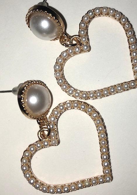 Heart pearl drop earrings