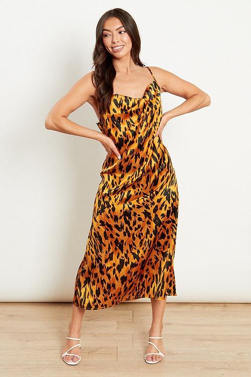 Leopard print cowl front midi dress