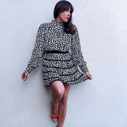 Mono leopard cutout back dress