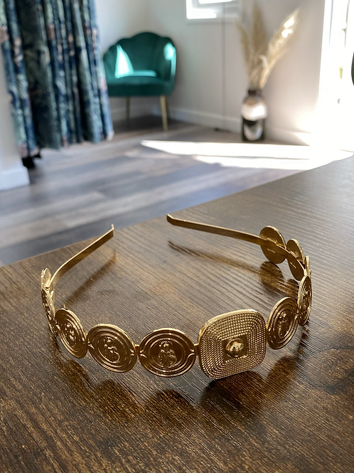 Gold coin style headband