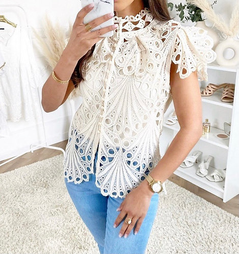 Cream lace button up blouse and cami