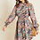 Thumbnail: Pink black ditsy print high neck dress