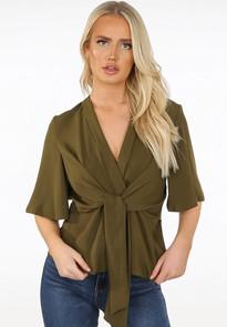 Khaki tie blouse top