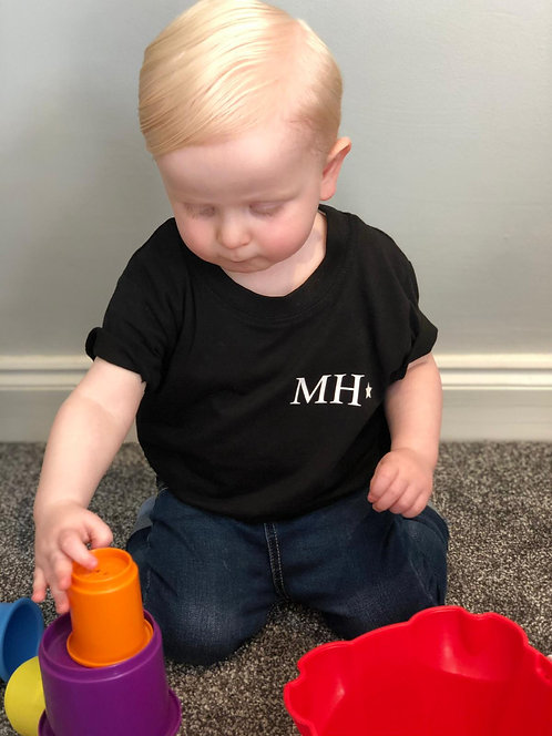Baby/ toddler black personalised t-shirt - 6months - 3 years