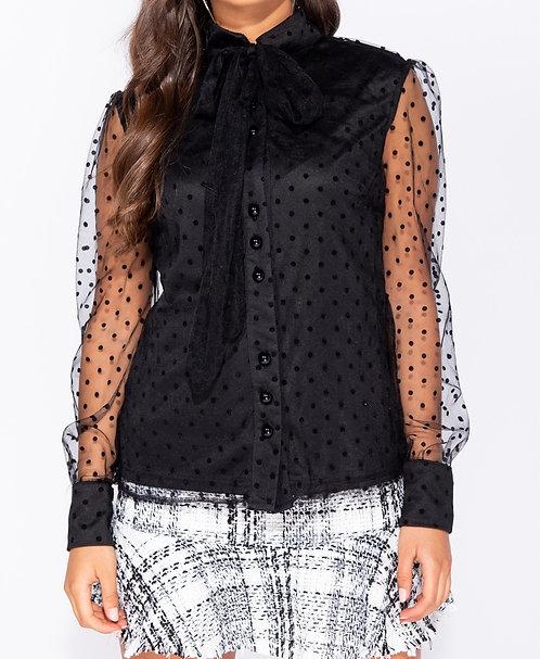 Polka dot sheer pussy bow blouse (Black)