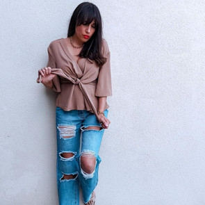 Jeans and wrap top