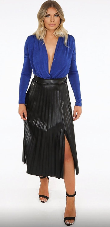 Black pleated leather look skirt