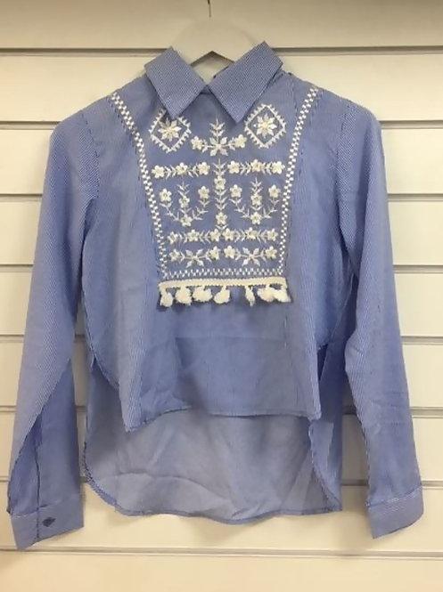 Blue tassel embellished stripe shirt