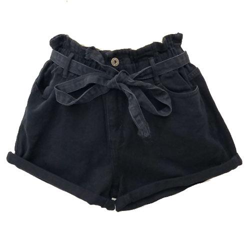 Black Paperbag waist denim shorts