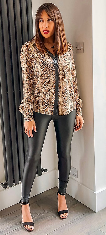 Snake print shirt with faux leather button seam details