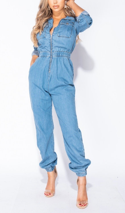 Long sleeve denim jumpsuit
