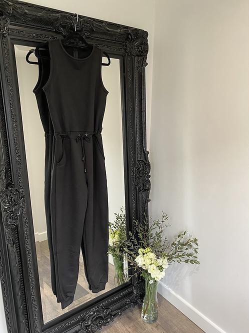Black - sleeveless jumpsuit with tie waist